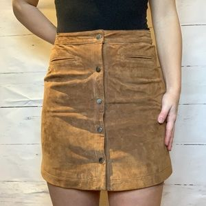 Brown Suede Button-Front Skirt